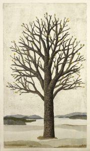 Vårvinter, 125x72 cm, träsnitt/collage
