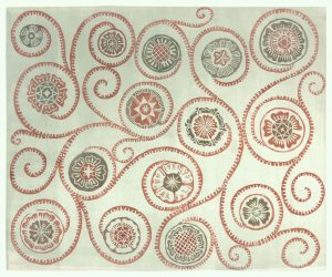 Jag tänker på Vika, röd. 50x60 cm, träsnitt